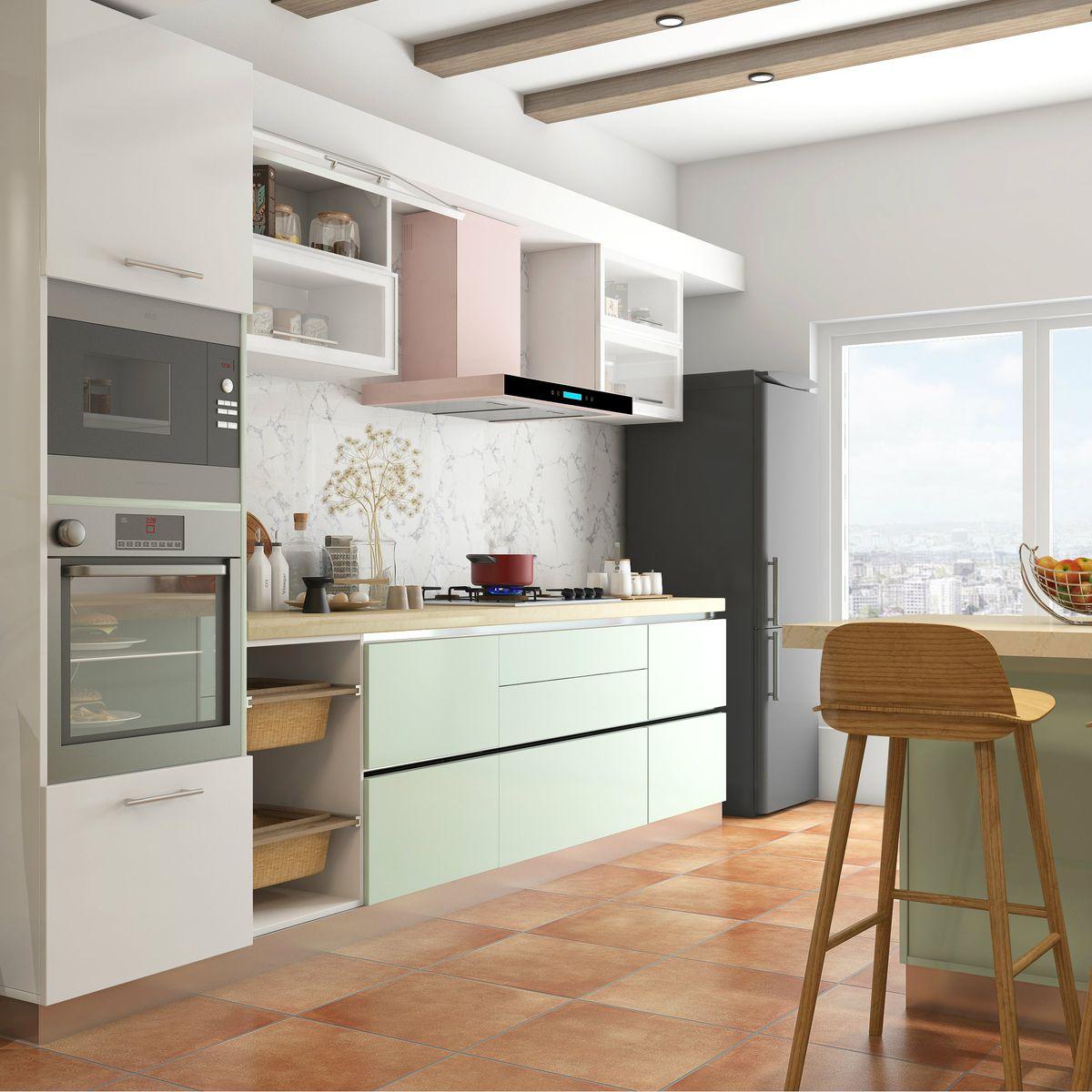 Sleek, white modular kitchen with island   Home kitchens ...