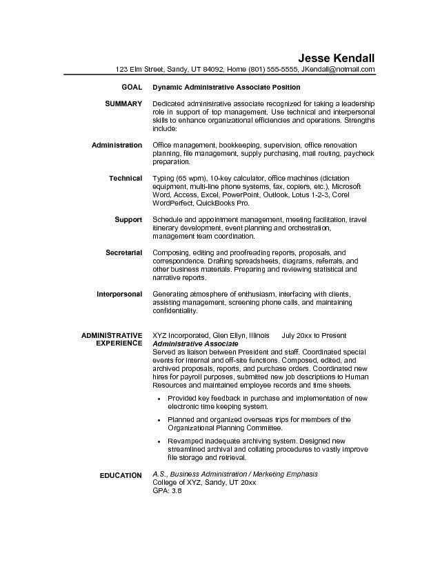 Administration Resume Objective Best Administrative Assistant - business administration resume objective
