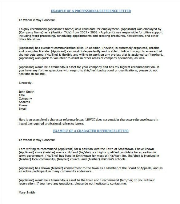 Sample Professional Letter Of Recommendation For Job Letter Of - formats for letters of recommendation