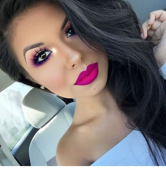 Black hair and pink makeup