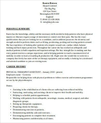 Tamara wilke resume 2010 - physical therapy resumes