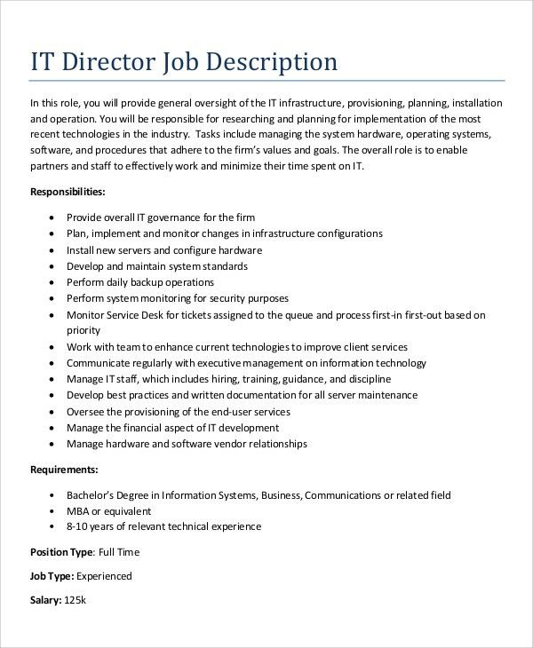 It Director Job Description  StaruptalentCom