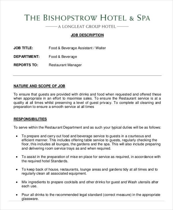 job description for a waitress waitress job description resume