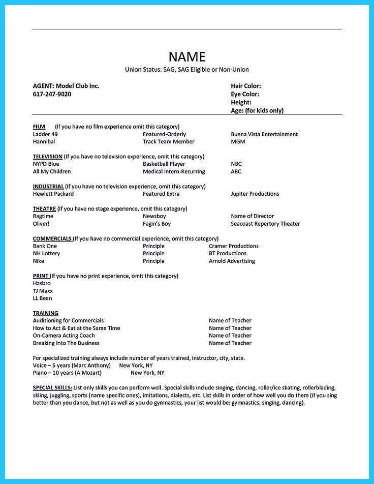 Audition Resume Sample - Eliolera - theatrical resume format
