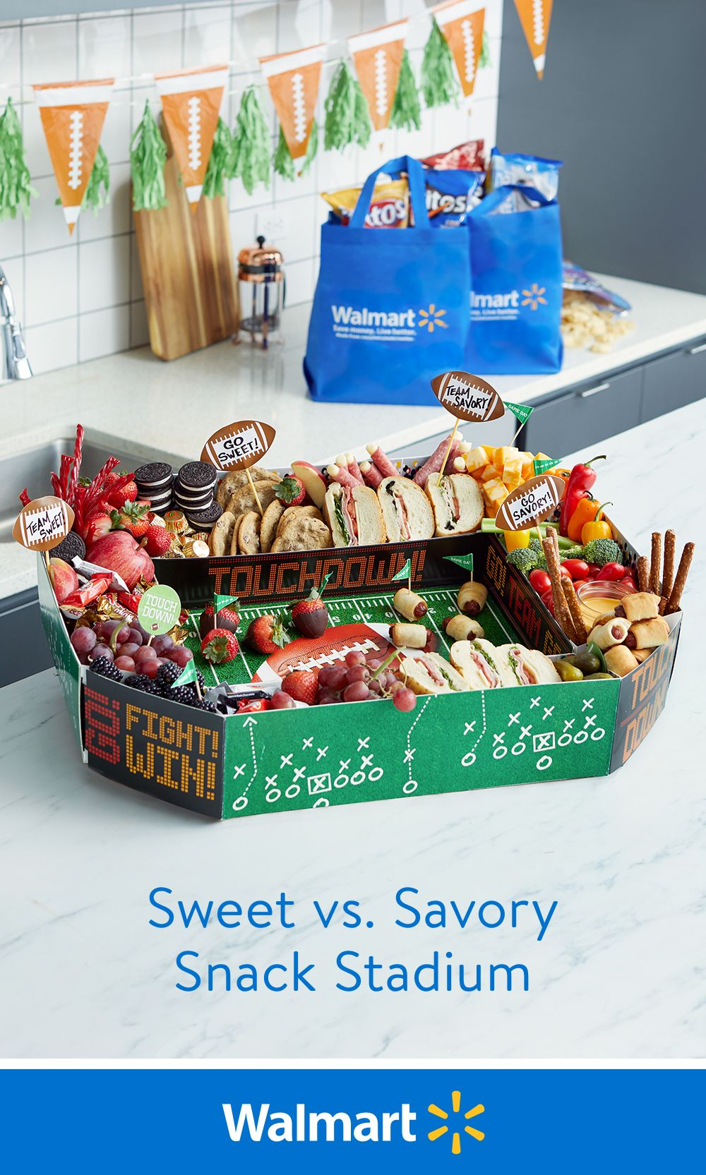 No matter who you are rooting for, win bragging rights at your game day party with this snack stadium that's full of the ultimate Big Game party food!