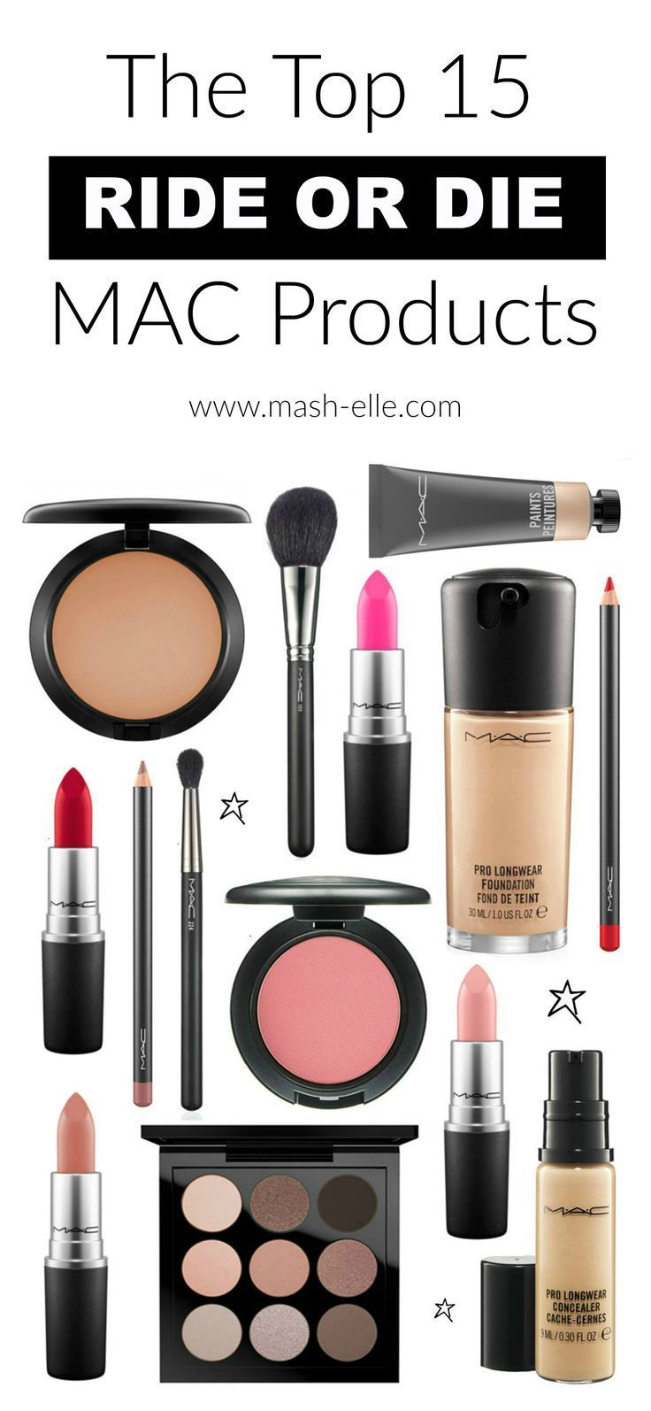 You need these MAC products in your life! | Beauty blogger Mash Elle rounds up the top 15 ride or die MAC products from foundation to blush, lipstick and concealer! Any of these products would be perfect for Christmas or birthday gifts!