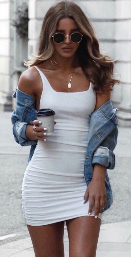 White short dress and denim jacket