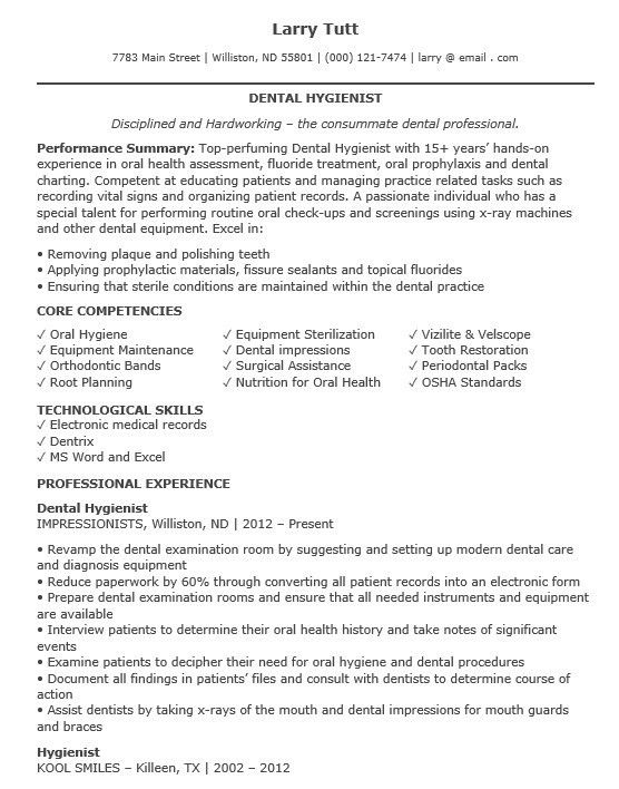 100 Dental Resume Samples Dentist Resume Example Remarkable