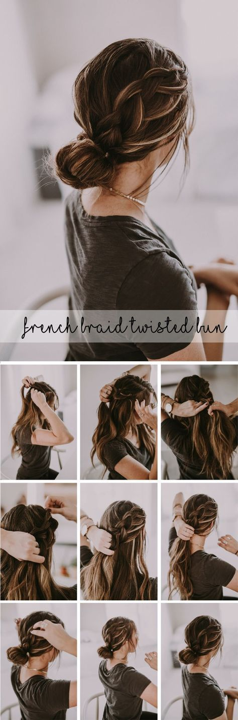 Beautiful french braid twisted bun up-do hairstyle. Perfect dressed up for holiday parties or paired with your sweatshirt and sneakers! #hairtutorial #hairstyle #hairstyletutorial #frenchbraid #braidhairstyle #braid #easyhairstyle