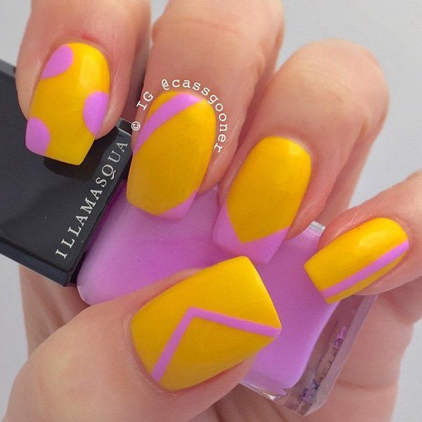 Very cute and minimalist abstract nail art design. Using only two colors, pink and yellow, a simple yet eye catching design is painted.