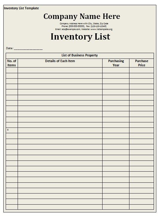 Company Inventory Template 8 Inventory Spreadsheet Templates By - property inventory template