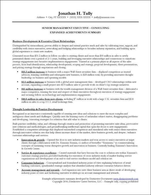 accomplishments for resume examples cio technology executive
