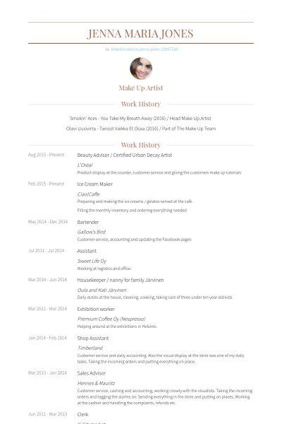 Artist Resume Samples Artist Resume Sample Writing Guide Resume - beauty advisor resume