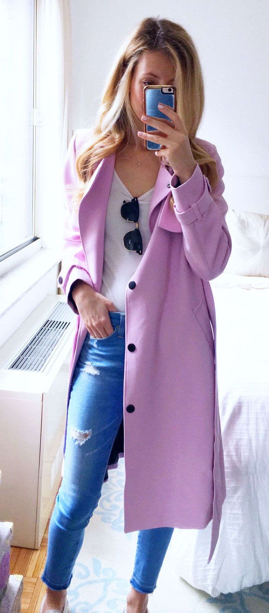 pink trench coat #spring #outfits