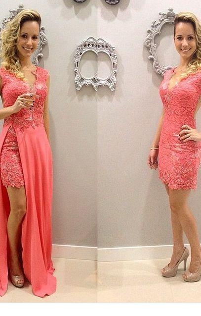 Lovely coral long short dress