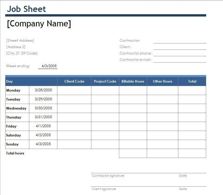 work hour sheet template