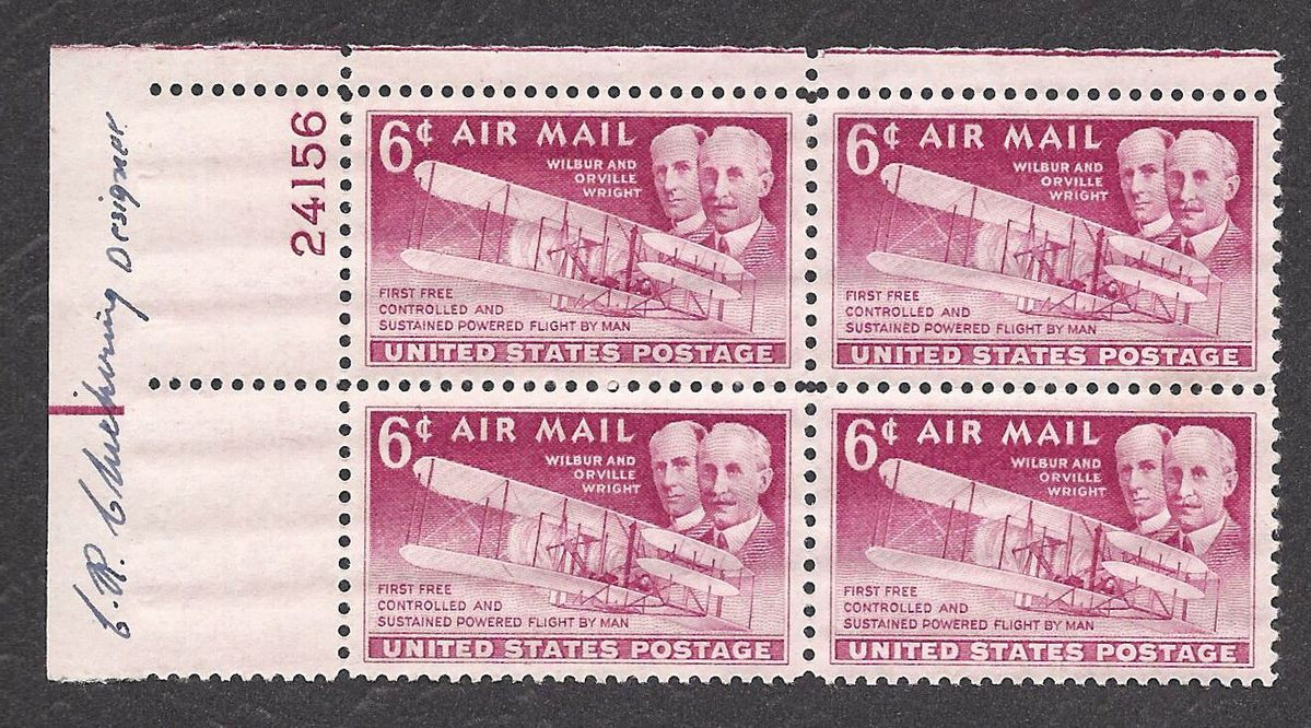 1949 U.S. 6¢ Air Mail Wilbur and Orville Wright. Scott