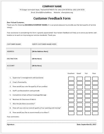 Feedback Forms  Feedback Document Template