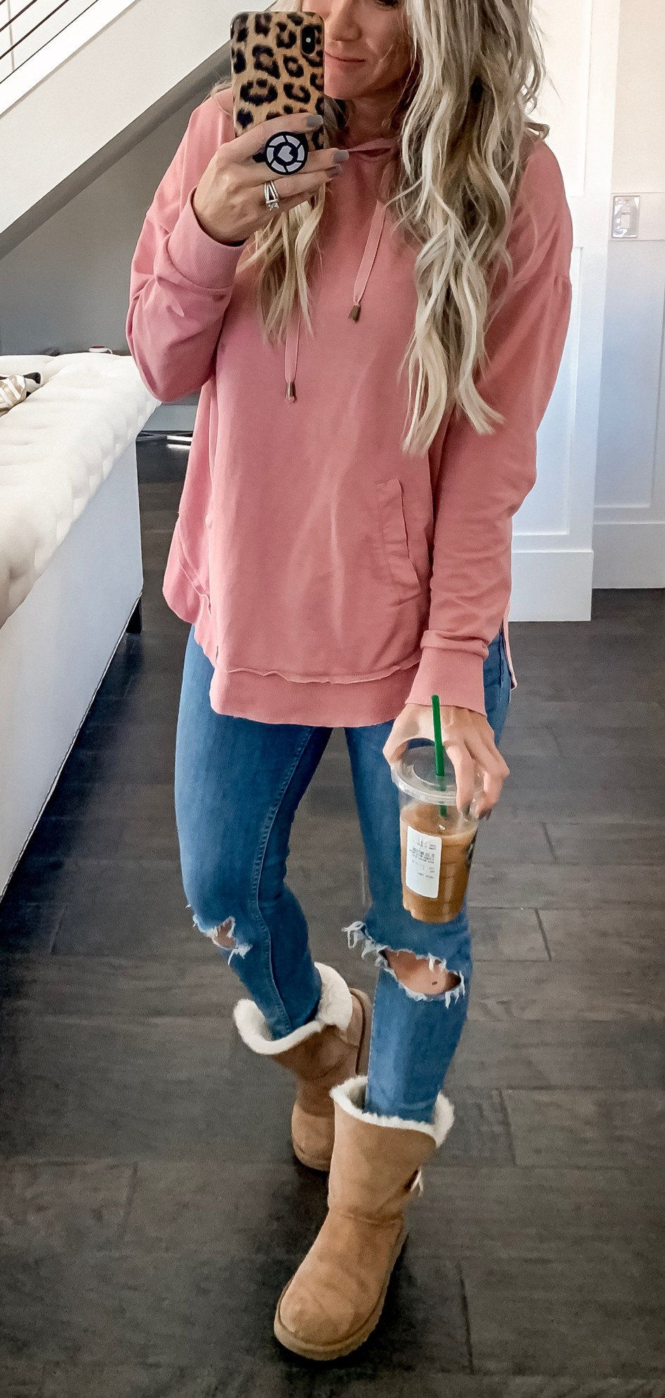 pink long sleeve dress #winter #outfits