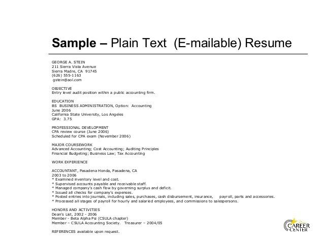 sample plain text resume resume text format standard format