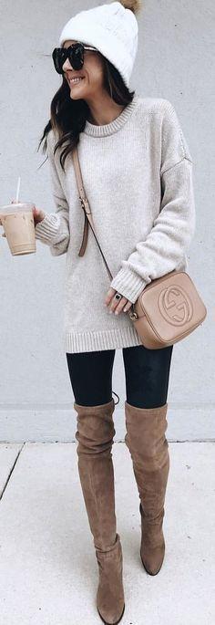 gray knit sweater and brown Gucci leather crossbody bag
