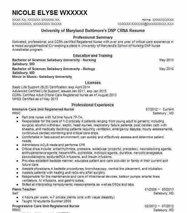 crna resume examples example nurse anesthetist resume free sample