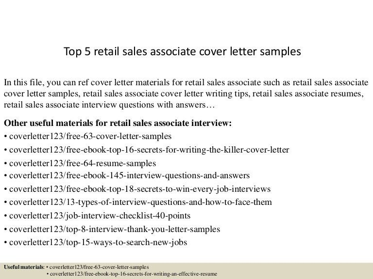 Sample Sales Associate Cover Letter Sales Associate Cover Letter - sales cover letter template