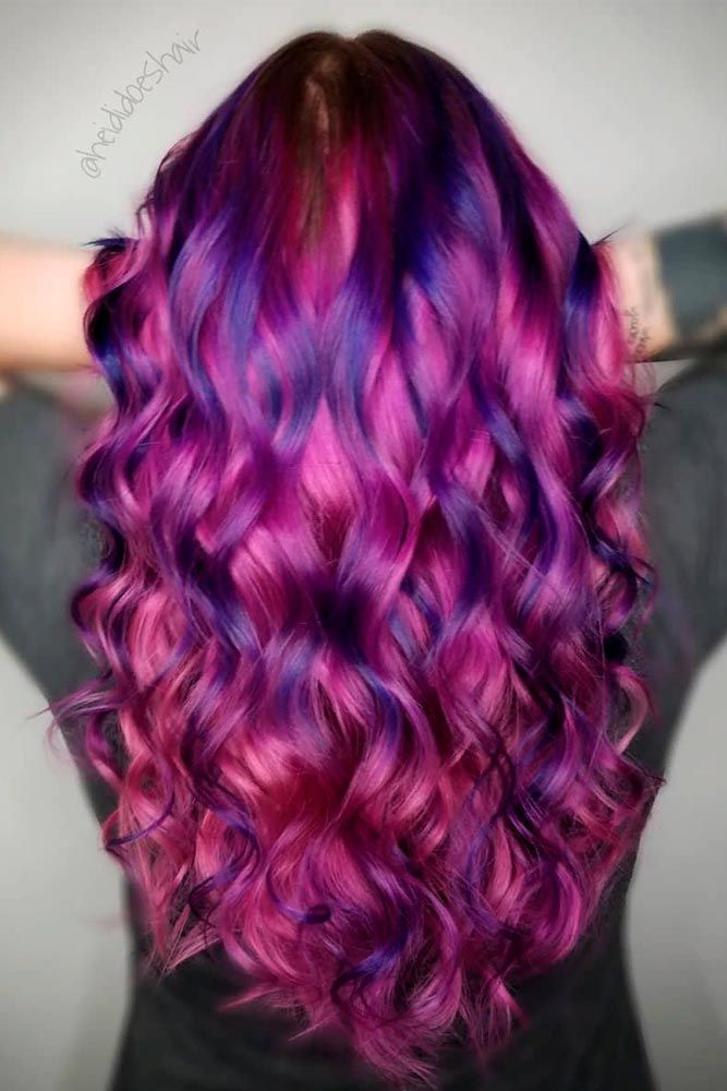 Pink And Purple Hair #colorfulhair #curlyhairstyles ★ Pink hair color is full of surprises. Moreover, it can be different; as different as you want! Dive in to see the latest rose ideas. Besides hot bright highlights for long hair and pastel ombre for short locks, we've prepared a little product review for your successful DIY coloring! #glaminati #lifestyle #pinkhair