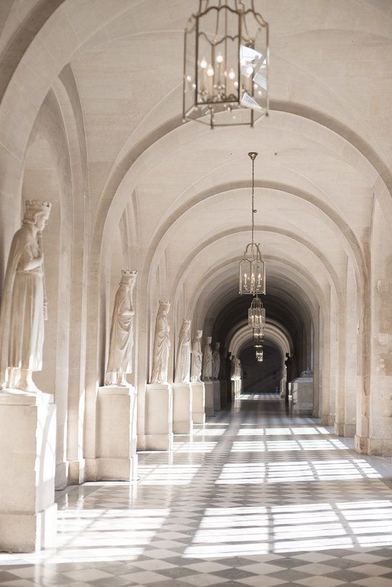 Paris Photography - Hallway in the Palace of Versailles Neutral Home Decor, Chandeliers, Travel Phot