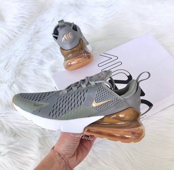 Swarovski Nike Air Max 270 Shoes Dark Stucco/Metallic Gold/Sail customized wit