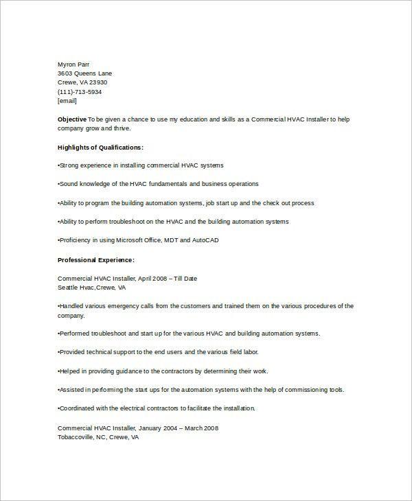 ... 100+ Hvac Resume Sample   Hvac Draftsman Cover Letter,Pv Installer    Draftsman Resume ...