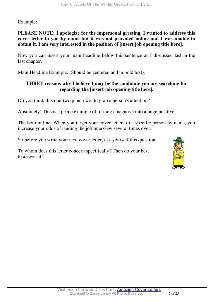 Greeting For A Cover Letter Recruiter Cover Letter Examples - great cover letter secrets