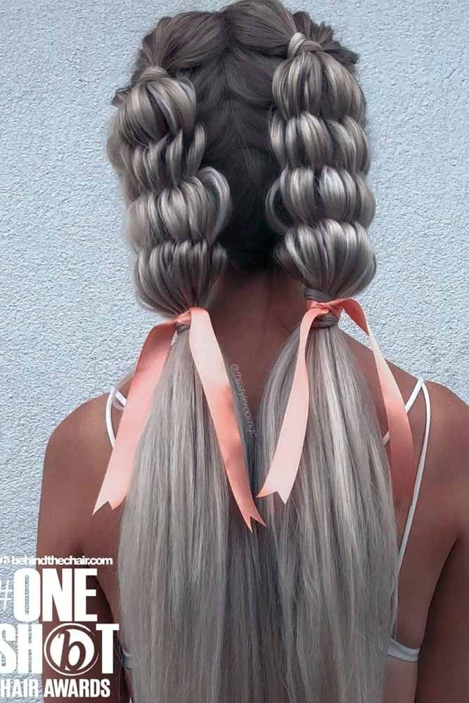 Two Braided Ponytails With Ribbons #hairribbon #braidedhairstyles ★ Are you looking for cute hairstyles that are trendy, as well? We have gathered the loveliest hairstyles that are ideal to wear on a first date. #glaminati #lifestyle #cutehairstyles