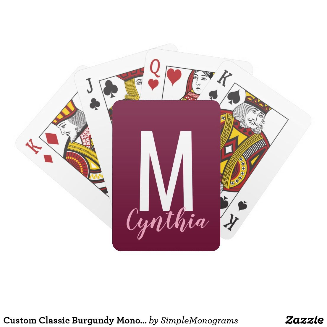 Custom Classic Burgundy Monogram Playing Cards
