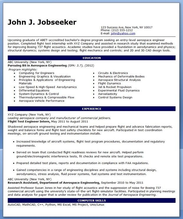 aerospace design engineer sample resume