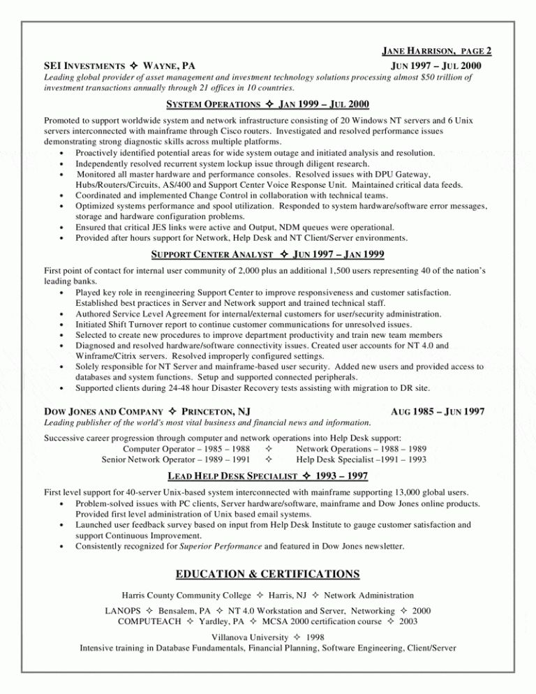 Technical Support Resume Unforgettable Technical Support Resume - help desk technician resume