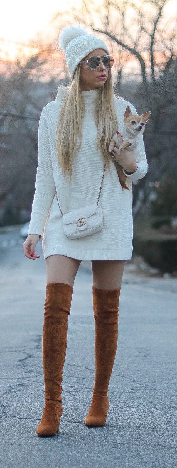white sweater and brown boots