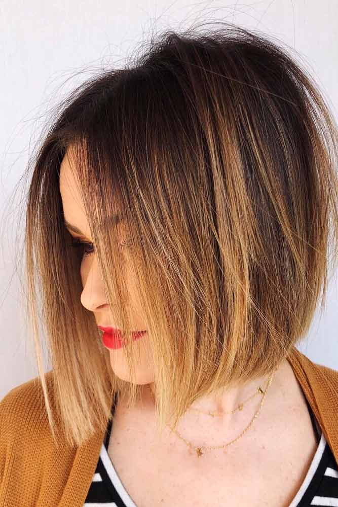 Medium Length Ombre Inverted Bob Hairstyle #ombrehairstyles #brownhair ★ All the inverted bob hairstyles: stacked, choppy, short, curly, with side bangs, with layers, are gathered here! #glaminati #lifestyle #invertedbob
