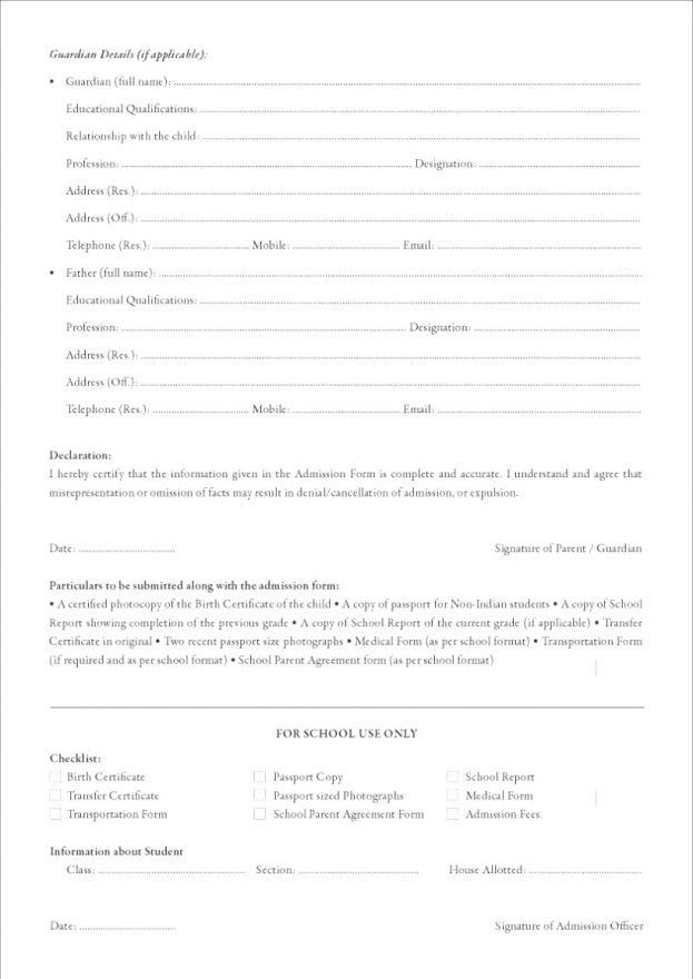 School Application Form Example 10 School Application Templates - format of admission form