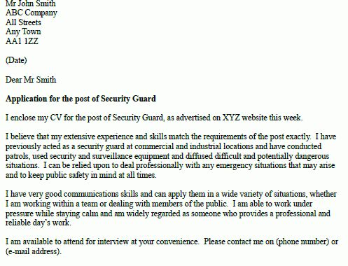 Contractor Security Guard Cover Letter Node494cvresumecloud
