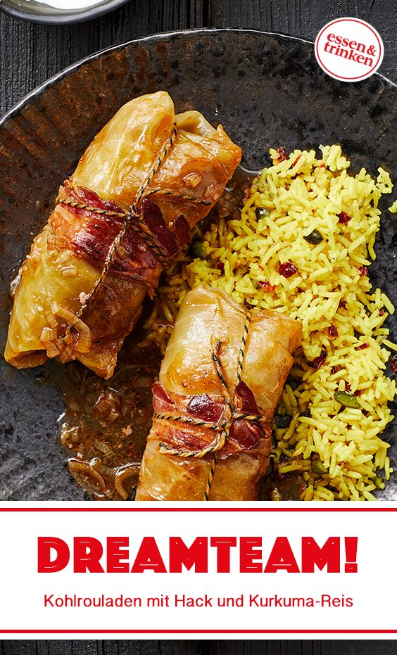 Rezept für Kohlrouladen mit Hackfüllung und Kurkuma-Berberitzen-Reis