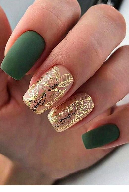 Matte green nails with gold detail