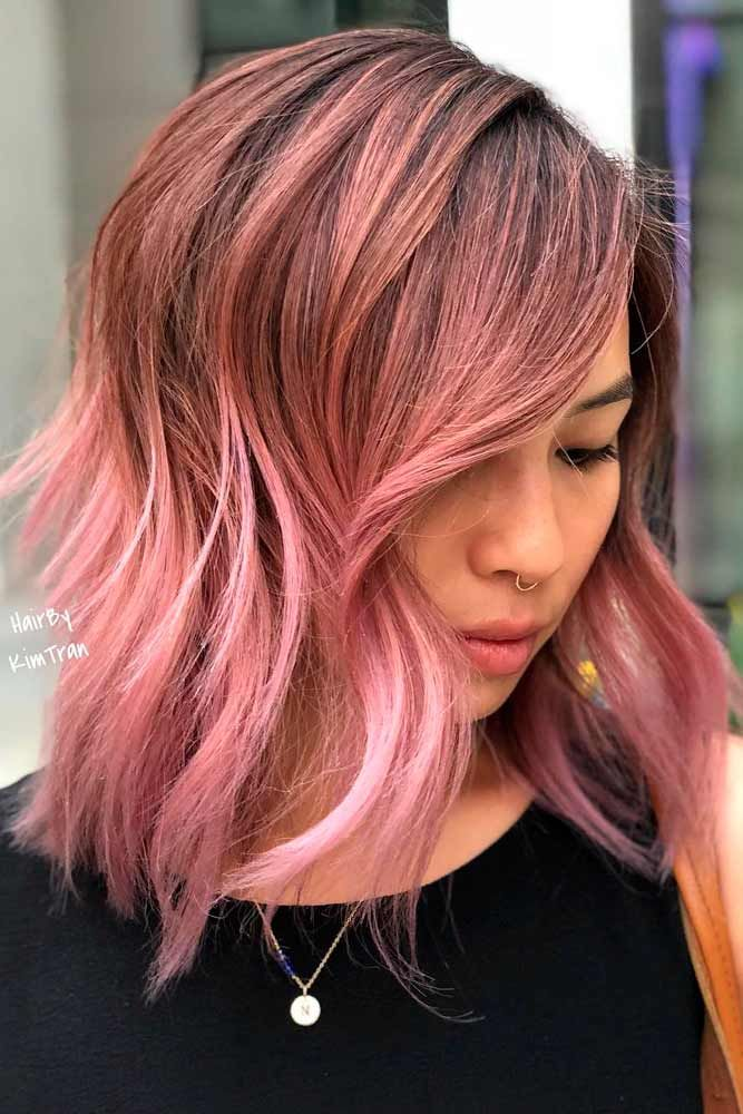 Rose Gold Ombre Layered Hairstyle #rosegoldhair #ombrehair ★ Medium length hairstyles have a big number of perks, and that is why women all around the world choose to sport them. Any woman can find a flattering style for her. To help you do that, we have created a photo gallery featuring the most complimenting styles. Check it out and pick a new style. #glaminati #lifestyle #mediumlengthhairstyles