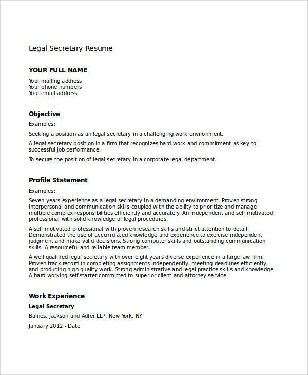 Legal Secretary Resume Examples Secretary Resume Example, Legal - legal assistant resume