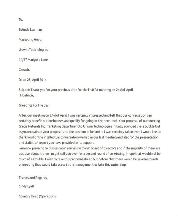 Thank You For The Meeting Sample Business Thank You Letter 6 - professional thank you letter