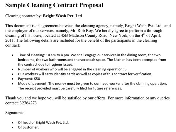 Free Sample Cleaning Contracts Cleaning Contract Template 27 Word - sample proposal contract