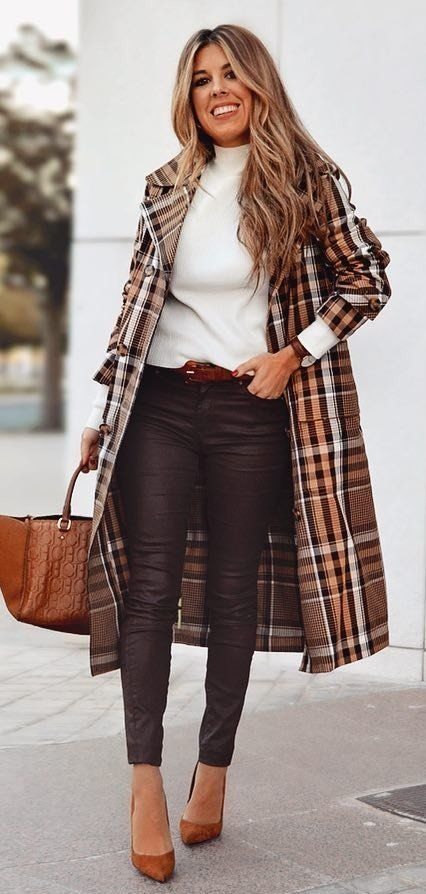 brown and white plaid coat #spring #outfits