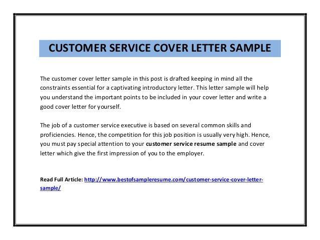 Cover Letter Customer Service Representative Customer Service - sample customer service cover letter example