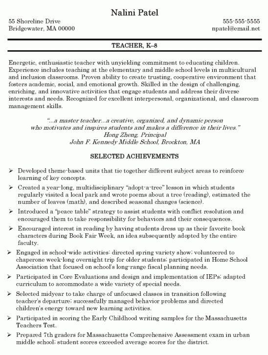 objectives for teacher resumes