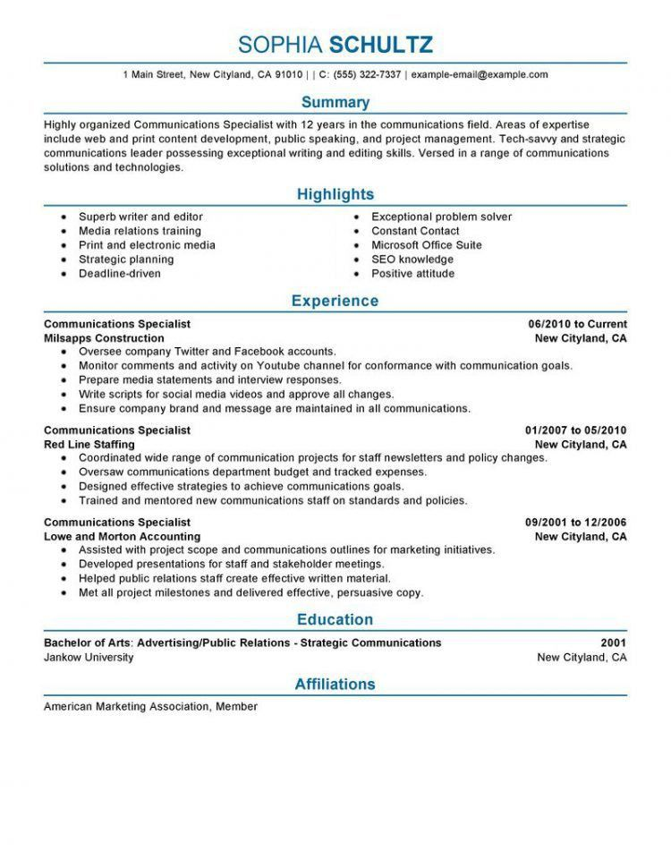 Recruiter resume example - telecommunication specialist resume